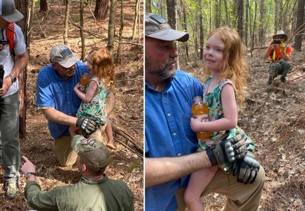 4살 아이 에블린 베이디 사이즈가 반려견 루시와 이틀간 숲에서 보낸 후 무사히 구조됐다. [출처: 미국 WRBL 지역방송 갈무리]